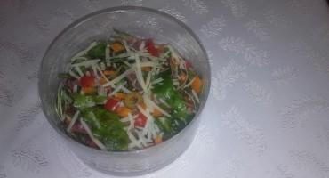 Zdjęcie przedstawia sałatkę z rukolą, suszonymi pomidorami i szynką parmeńską